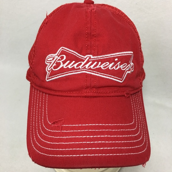 75180943d115f Budweiser Other - Budweiser Beer Red Distressed Hat SnapBack Cap